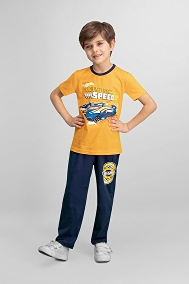 Hot Wheels  Lisanslı Grimelanj Erkek Çocuk Pijama Takımı Oranj